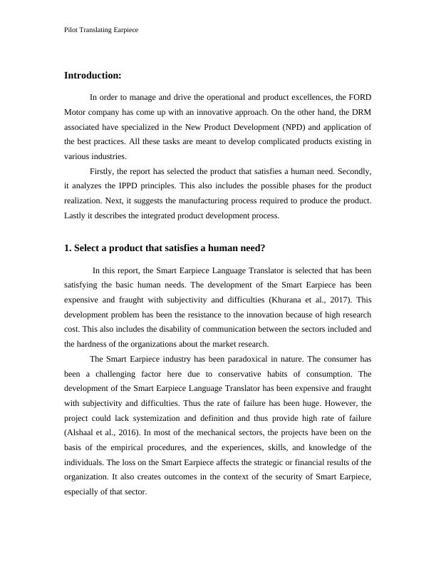 Pilot Translating Earpiece Industrial Engineering Assignment