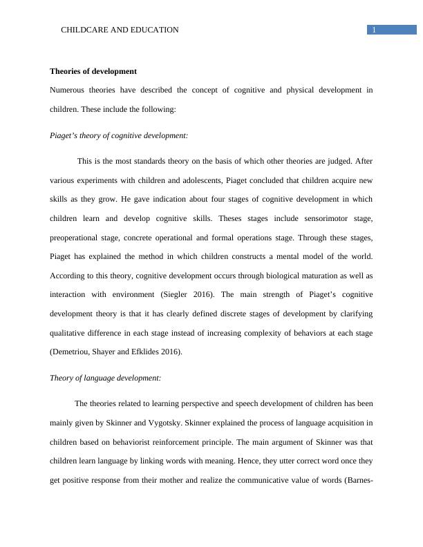 Childcare Assignment   Childcare and Education