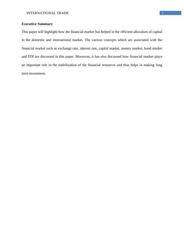 Assignment on International Trade (Doc)