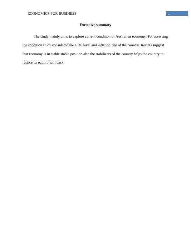 Current Condition of Australian Economy | Study