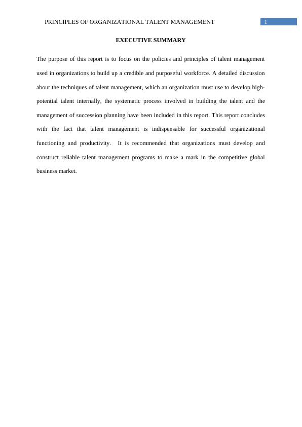 Principles of Organizational Talent Management Assignment