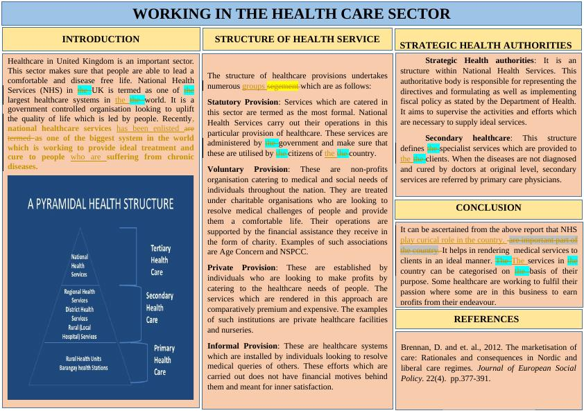 Working of Health Care Sector : Report