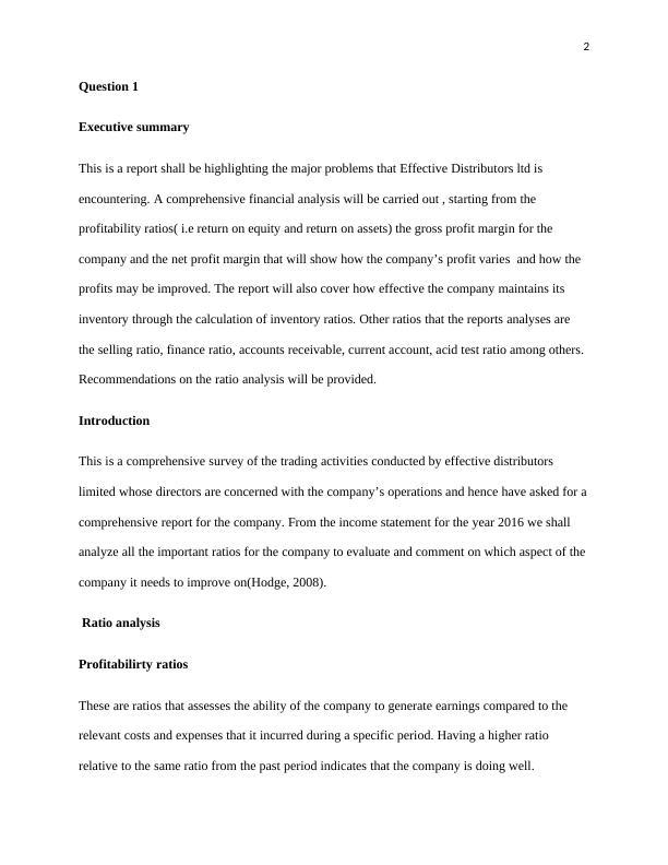 Report On Problems of Effective Distributors ltd