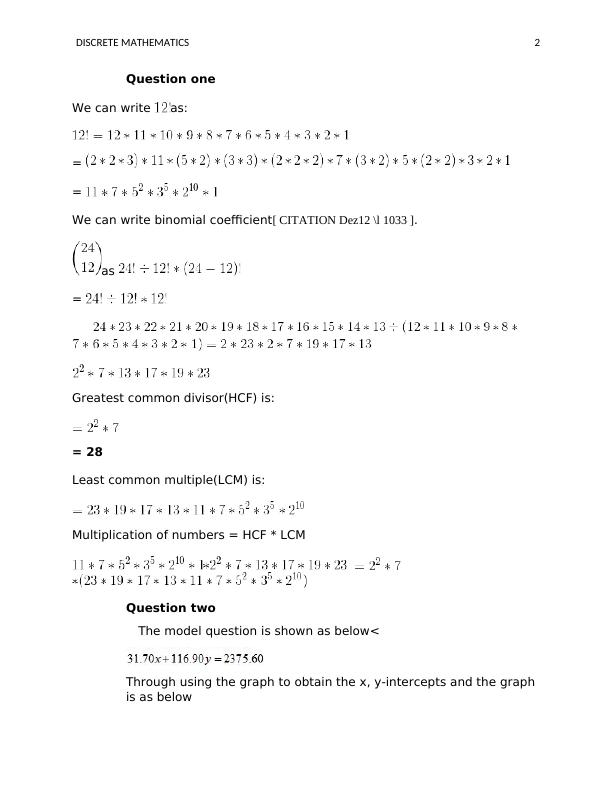 Assignment Discrete Mathematics