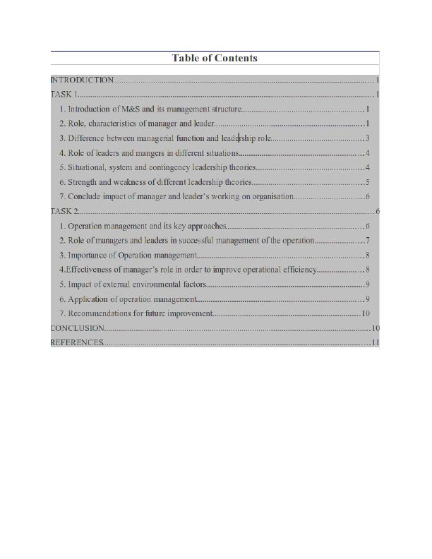 Management and Operations Assignment - Marks and Spencer