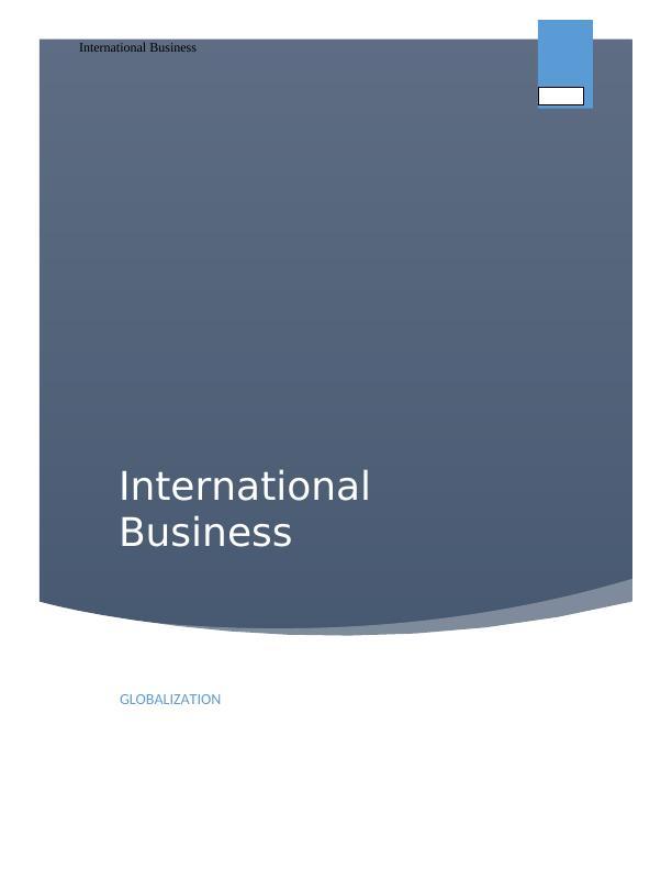 MGT 2102 – International Business
