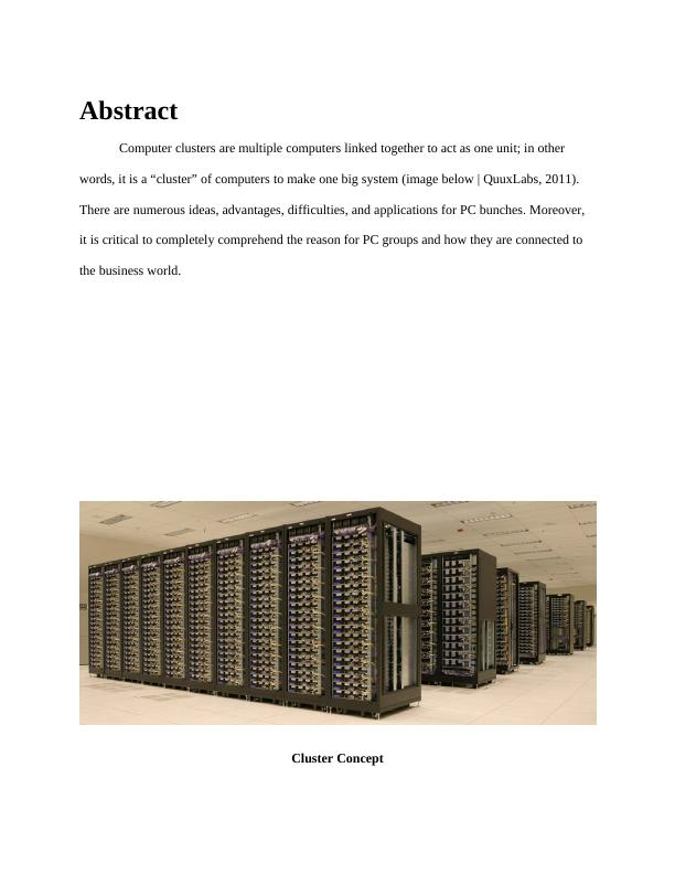 Cluster computing Assignment PDF