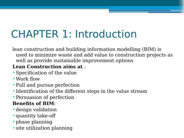 Integration of Lean Construction and Building Information Modelling (BIM)