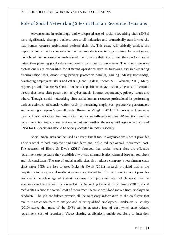 Academic Writing Thesis: Role of Social Networking Sites in HR decisions