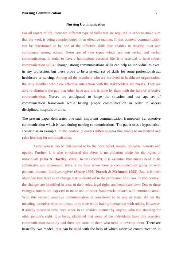 Report on Nursing Communication (pdf)
