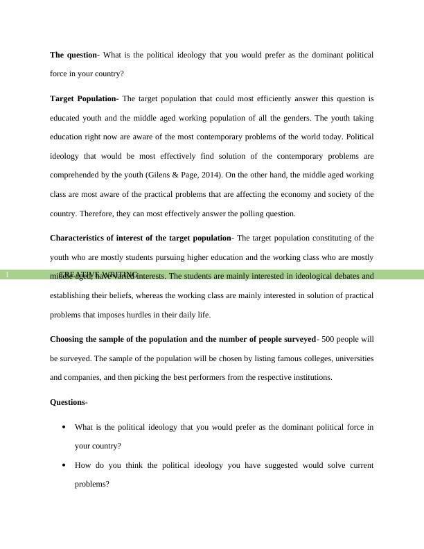 Assignment on Political Ideology PDF