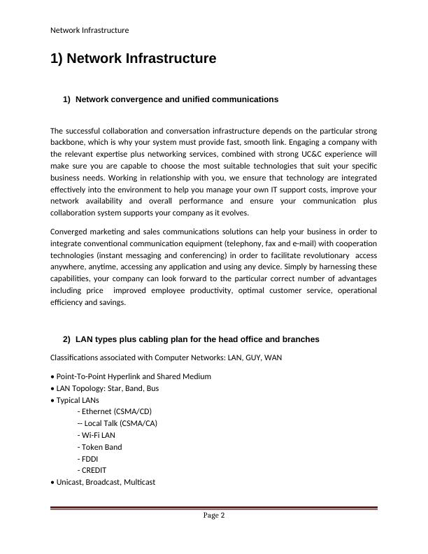 Network Convergence and Unified Communications : Report