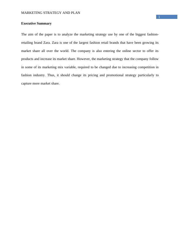 Marketing Strategy and Plan of Zara