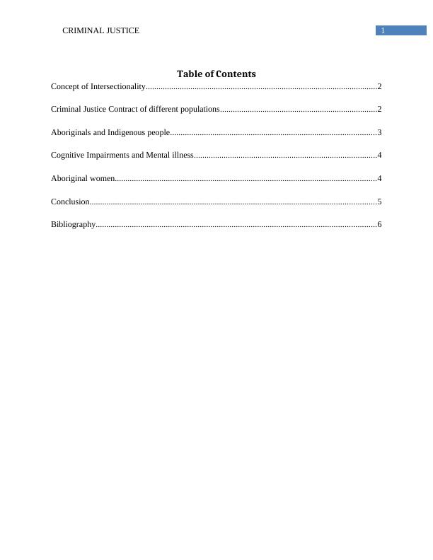 Criminal Justice Contract of Different Populations