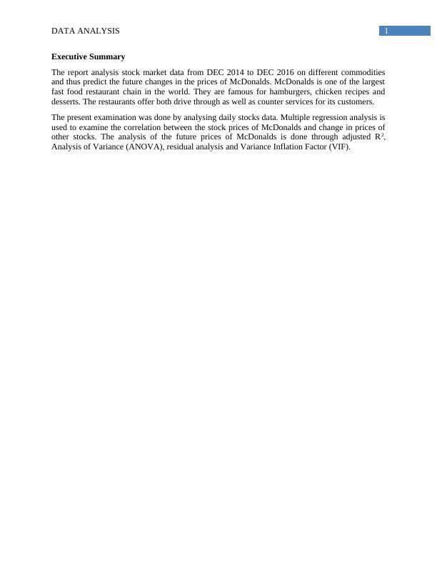 Data Analysis Assignment Report