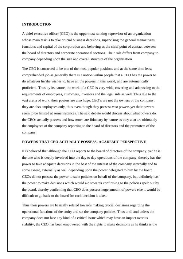 The Role of Chief Executive Officer - PDF