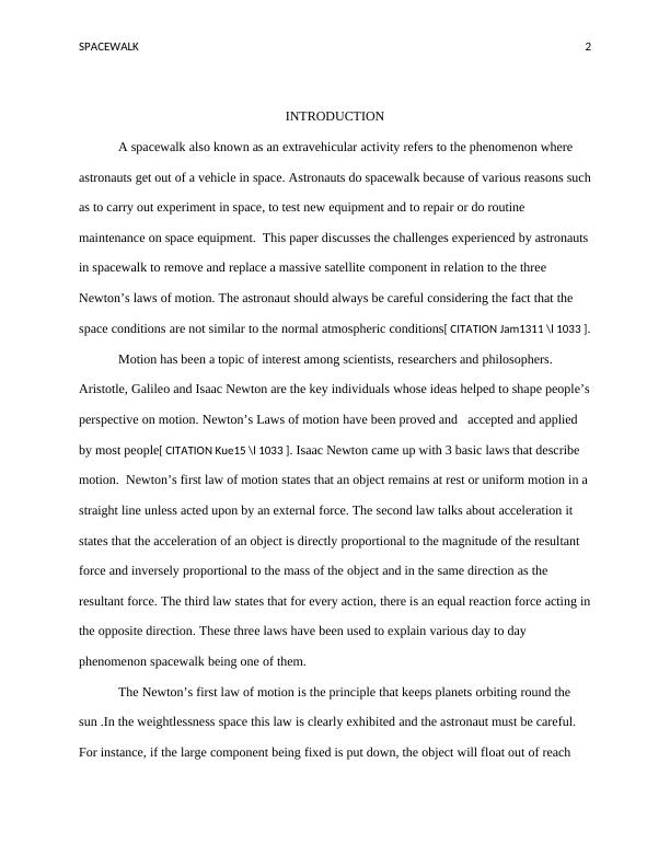 Spacewalk and Newton's Laws Assignment