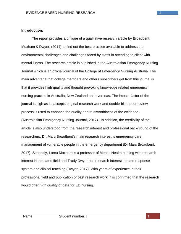 Evidence Based Nursing  Assignment