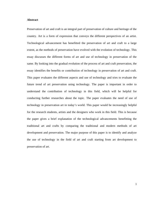 Essay on Use of Technology in Preservation