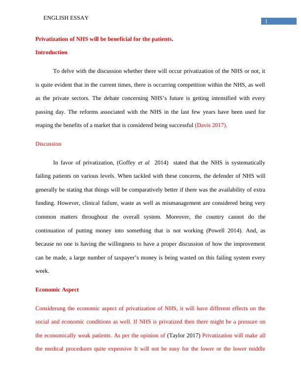 Essay: Privatization of NHS