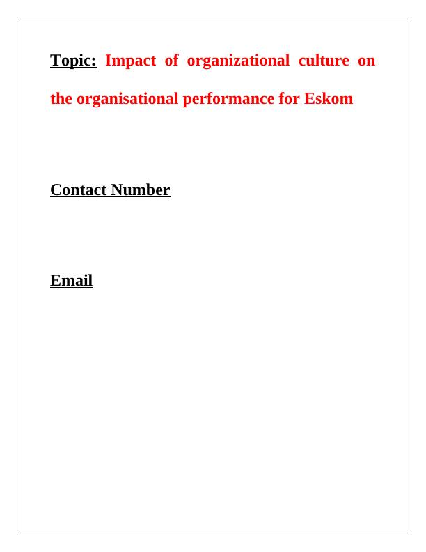 Research on Impact of Organizational Culture on the Organisational Performance