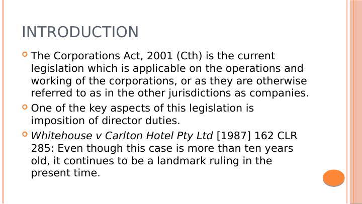 Whitehouse v Carlton Hotel Pty Ltd [1987] 162 CLR 285