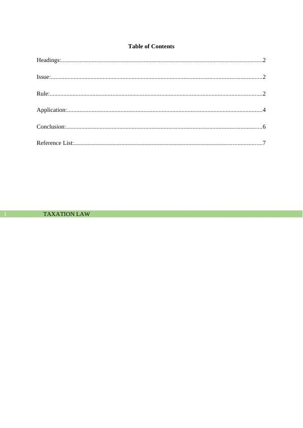 Taxation Law Application - Assignment
