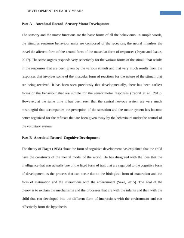 Early Child Development Assignment | Theory of Piaget