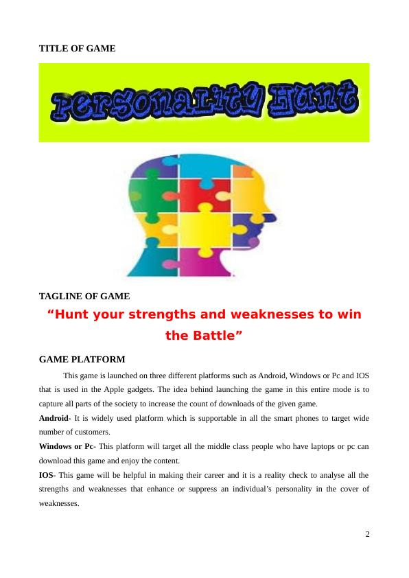 Hunt Your Strengths & Weaknesses To Win The Battle-Game Design Report