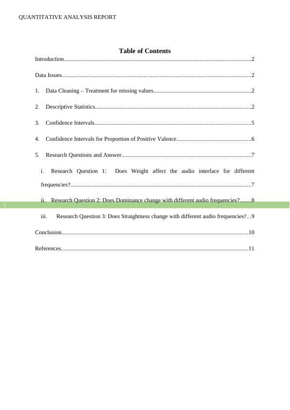 Quantitative Analysis -  Assignment