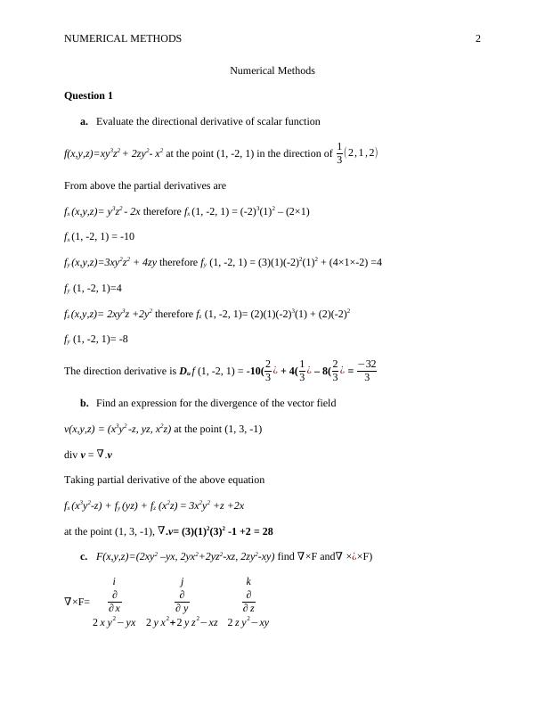 Assignment on Numerical Methods