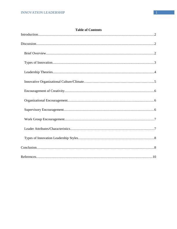 Innovative Leadership - Assignment
