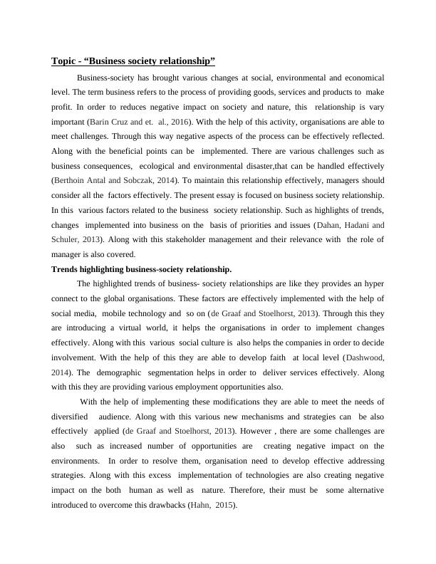 Essay on Business Society Relationship