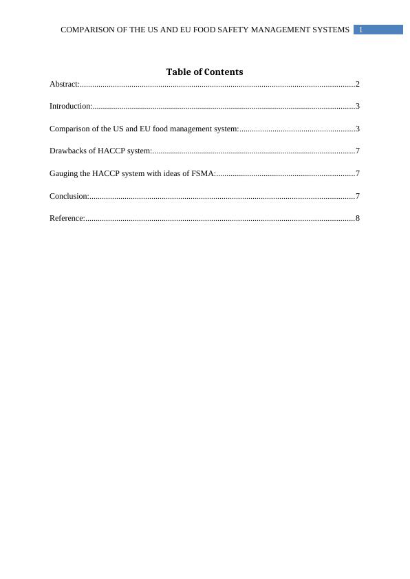 Assignment Food Safety Management