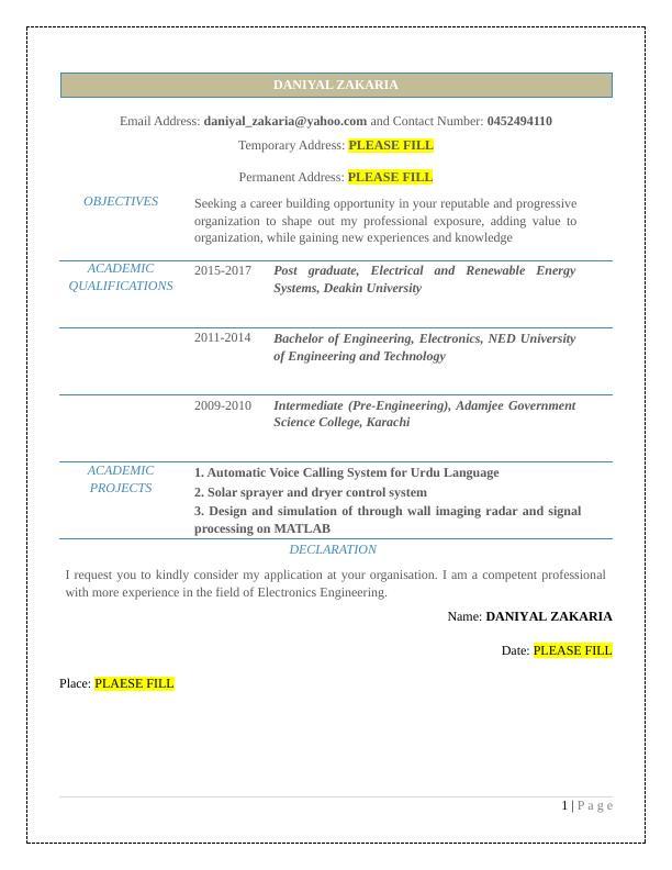 Danial Zachariah Objectives