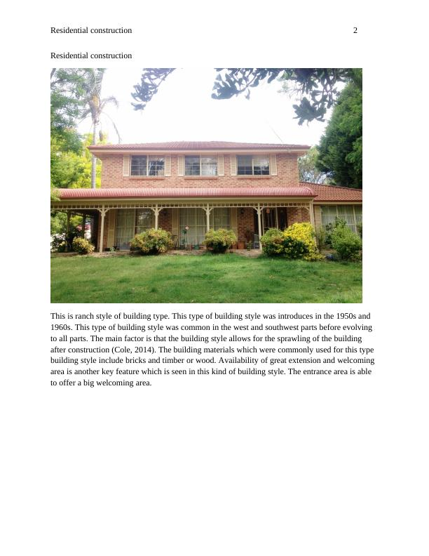 Report on Residential Construction