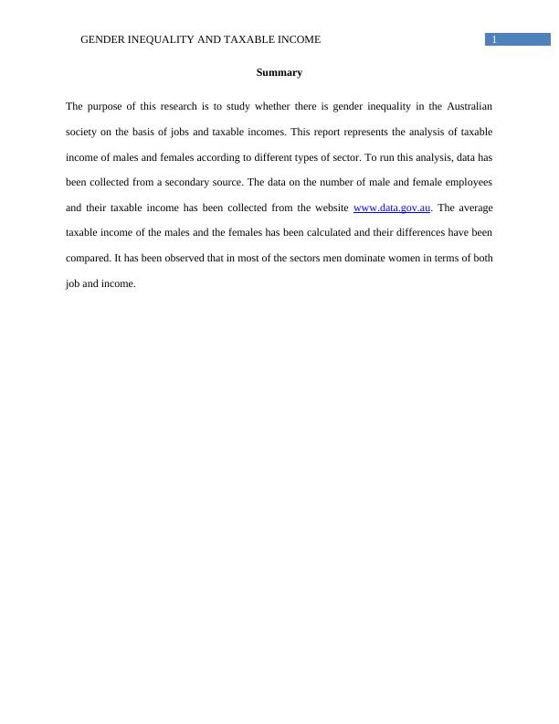 Gender Inequality and Taxable Income Assignment