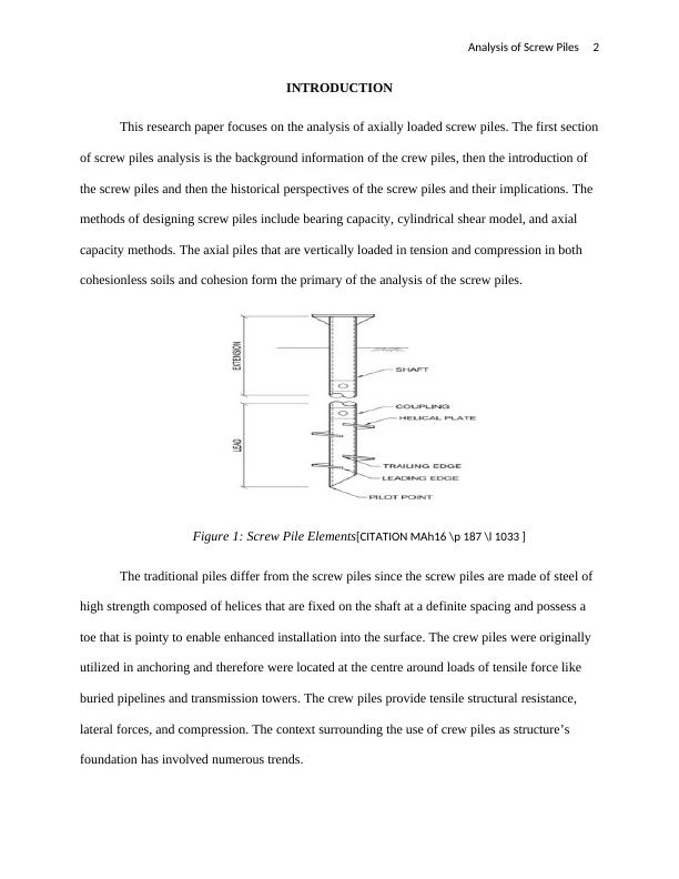 Research Paper on Analysis of Screw Piles