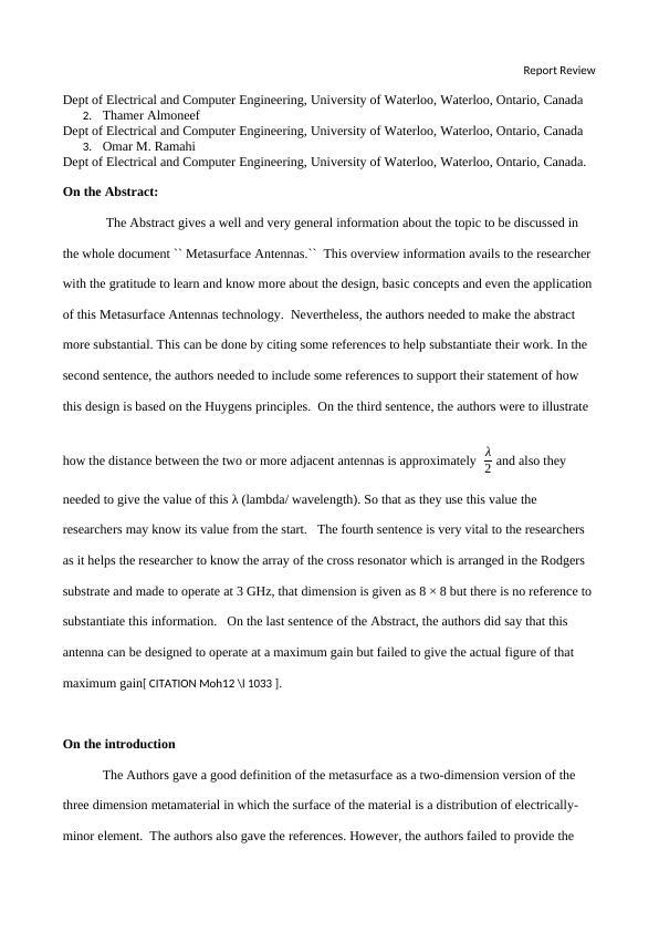 Report Review - Metasurface Antennas