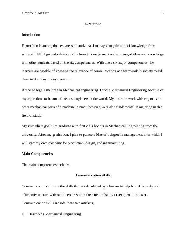 Assignment on E Portfolio Artifact