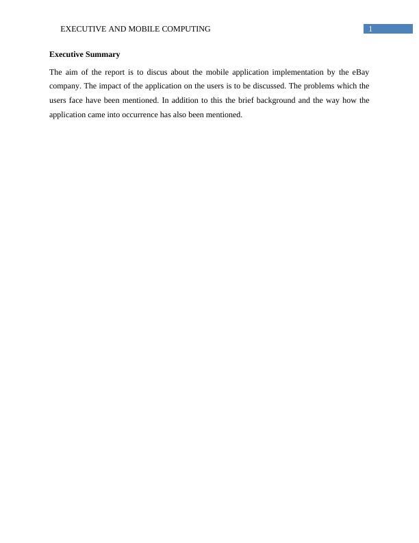 Report on Executive and Mobile Computing