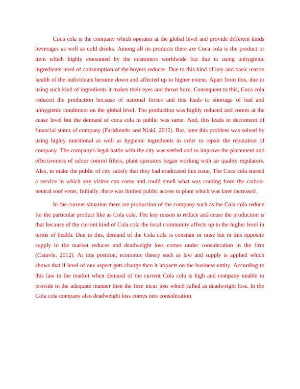 Report on Case Analysis of Coca cola