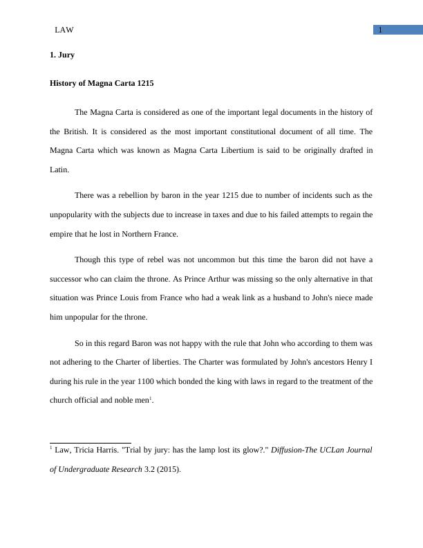 Jury History of Magna Carta | Law Assignment