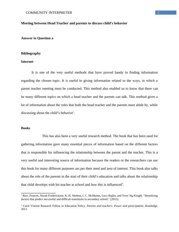 Report on Community Interpreter