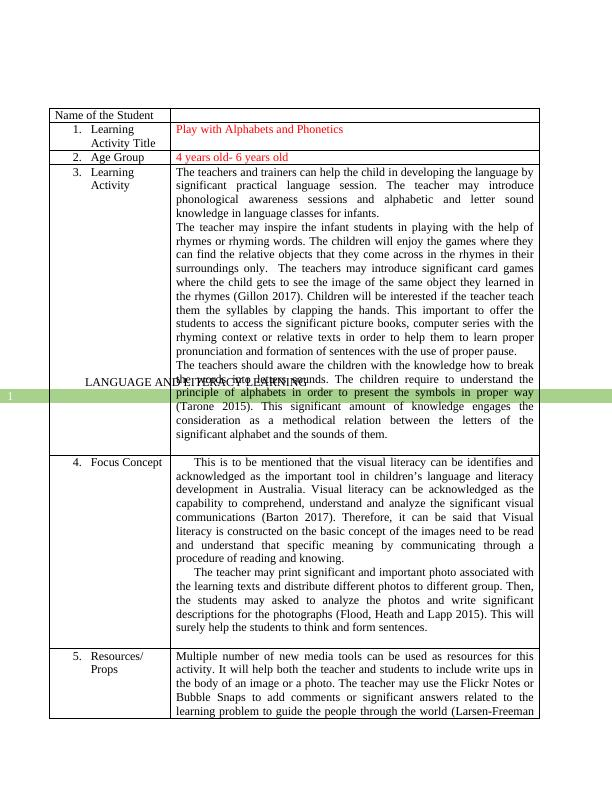 Language and Literacy Learning Assignment PDF