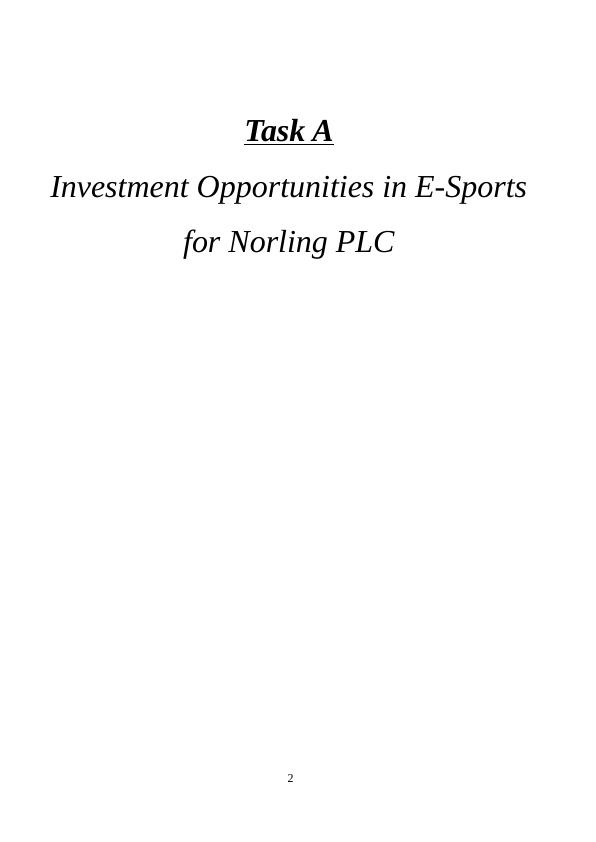 A Investment Opportunities in E-Sports | Norling PLC
