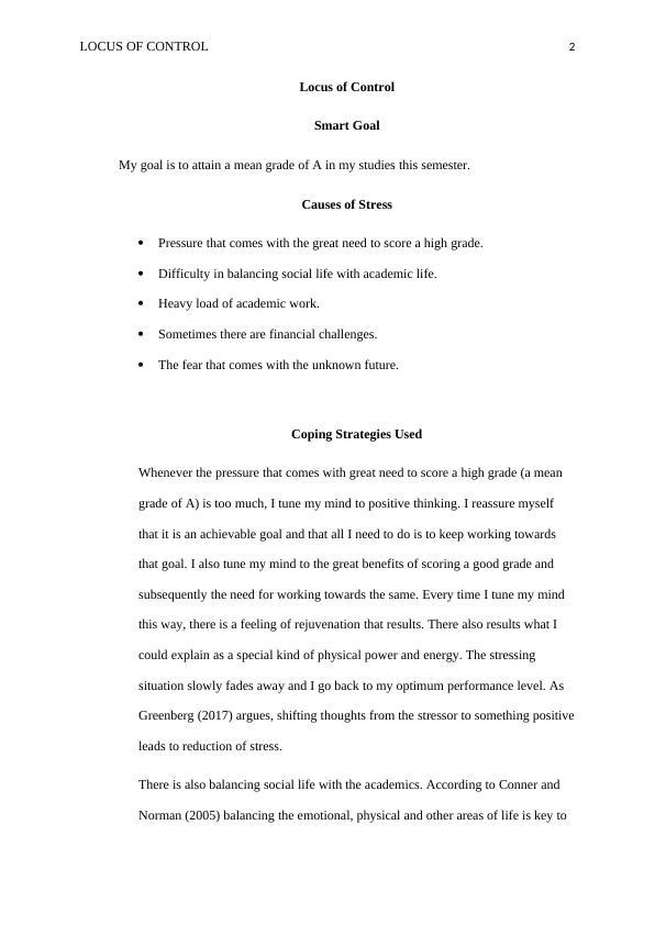 Locus of Control - Assignment