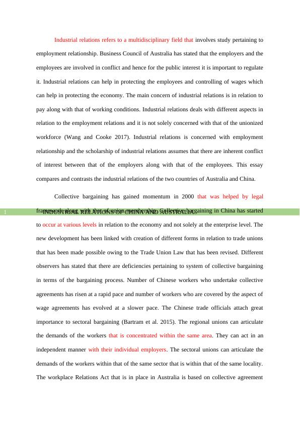 Industrial Relations of China and Australia Assignment PDF