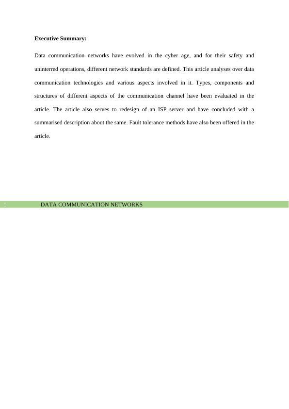 CSG1105D Data Communication Networks Assignment