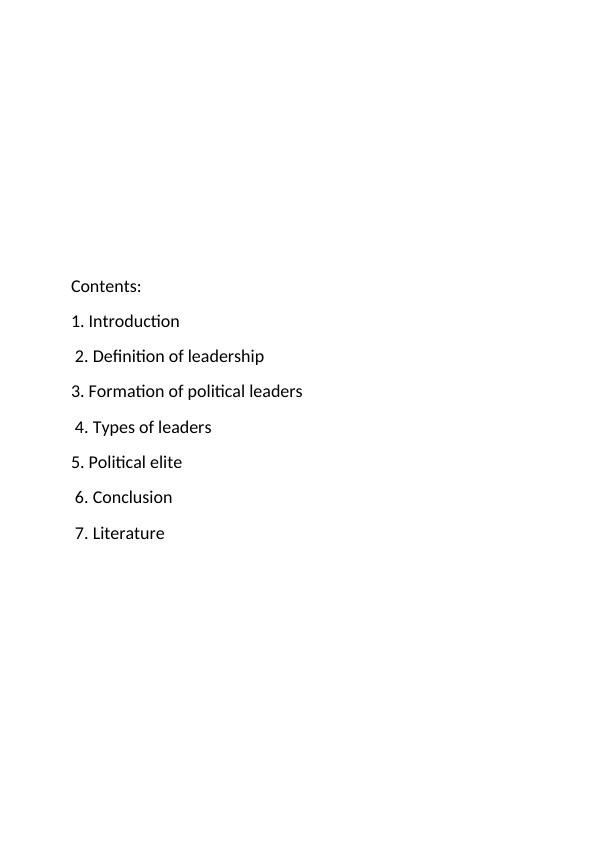 Assignment on Political Leadership